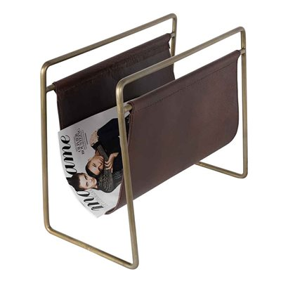 DUTCHBONE LEATHER & ANTIQUE GOLD MAGAZINE RACK in Brown