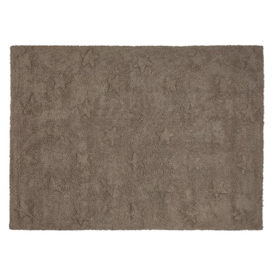 KIDS WASHABLE RUG in Brown Stars Design