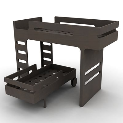 F & R DESIGNER KIDS BUNK BED in Dark Chocolate