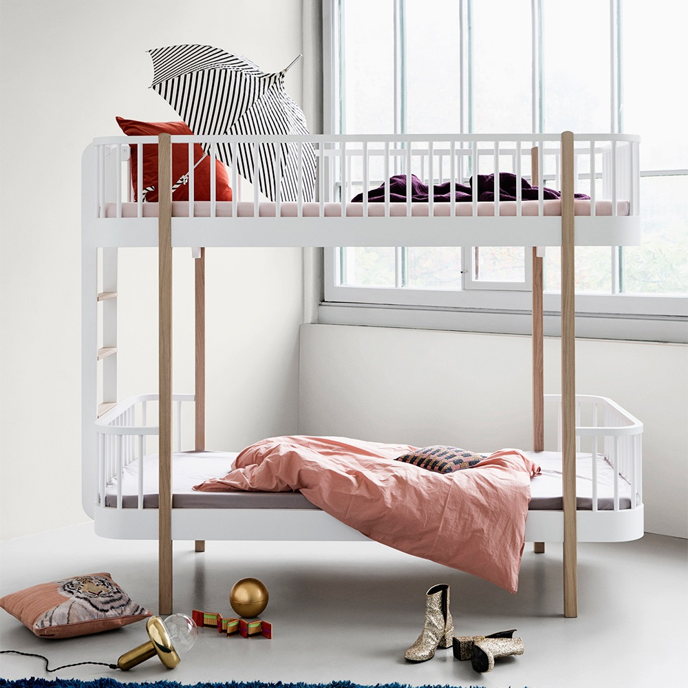 Childrens luxury bunk bed in white oak bunk beds for Furniture 123 bunk beds