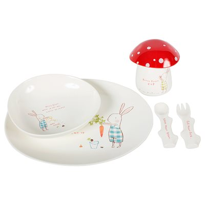 BUNNY GREEN KIDS MELAMINE DINNER SET