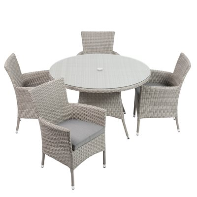 BURNHAM OUTDOOR RATTAN 4 SEATER SET in Grey