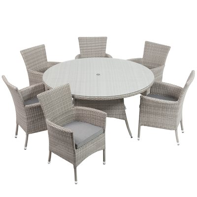 BURNHAM OUTDOOR RATTAN 6 SEATER SET in Grey