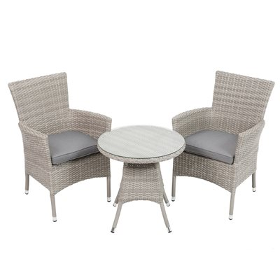 BURNHAM OUTDOOR RATTAN BISTRO SET in Grey