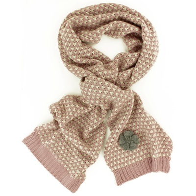 CAMILLE SCARF in Pale Pink and Cream