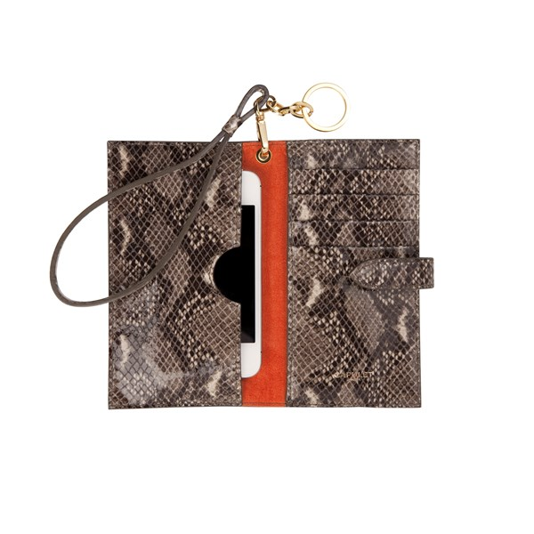CAPULET LONDON  Emma Phone Wristlet Purse Python Print