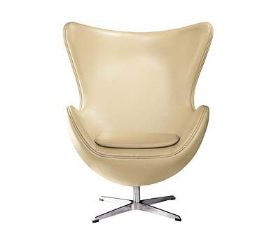 CARAMEL LEATHER Effect Jubilee Egg Chair with Chrome Base