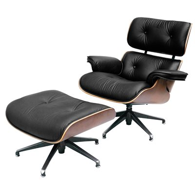 CHARLES EAMES Designer Black Leather Armchair with Footstool