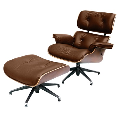 CHARLES EAMES Designer Brown Leather Armchair with Footstool