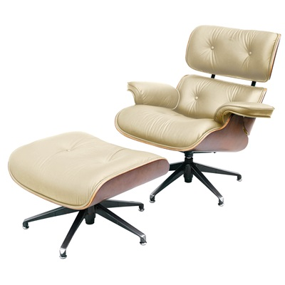 CHARLES EAMES Designer Cream Leather Armchair with Footstool