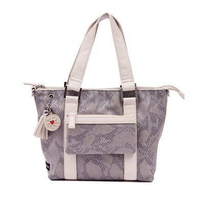 LUNCH COOLER BAG in Light Grey Suede Fabric by Clippy London