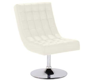 CREAM LEATHER Effect Swivel Chair with Chrome Base
