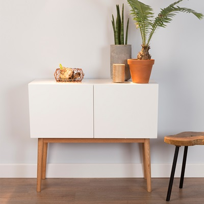SCANDINAVIAN 2 DOOR SIDEBOARD in White & Oak