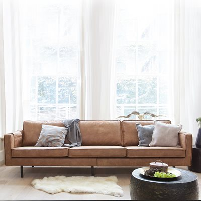 RODEO 3 SEATER LEATHER SOFA in Tan