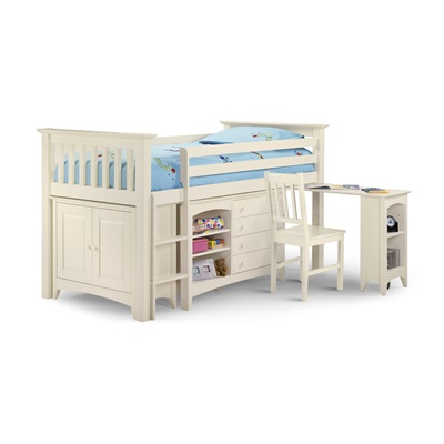 CAMEO SLEEP STATION KIDS CABIN BED in Stone White by Julian Bowen