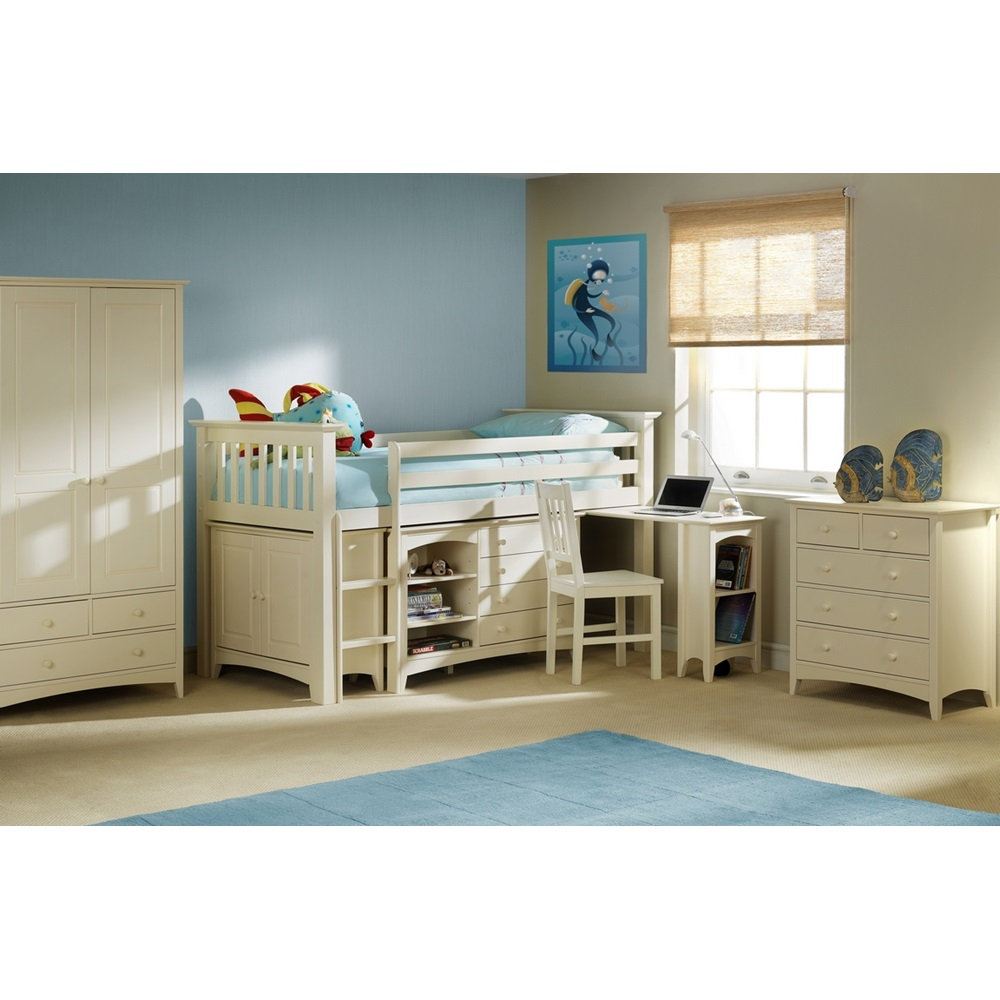 Cameo Sleep Station Kids Cabin Bed In Stone White By ...