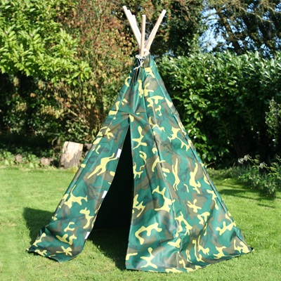 CHILDREN'S OUTDOOR CAMOUFLAGE WIGWAM PLAY TENT by Garden Games