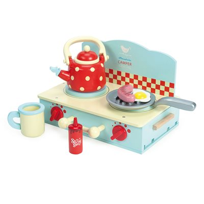 LE TOY VAN HONEYBAKE CAMPER MINI WOODEN STOVE SET with Accessories