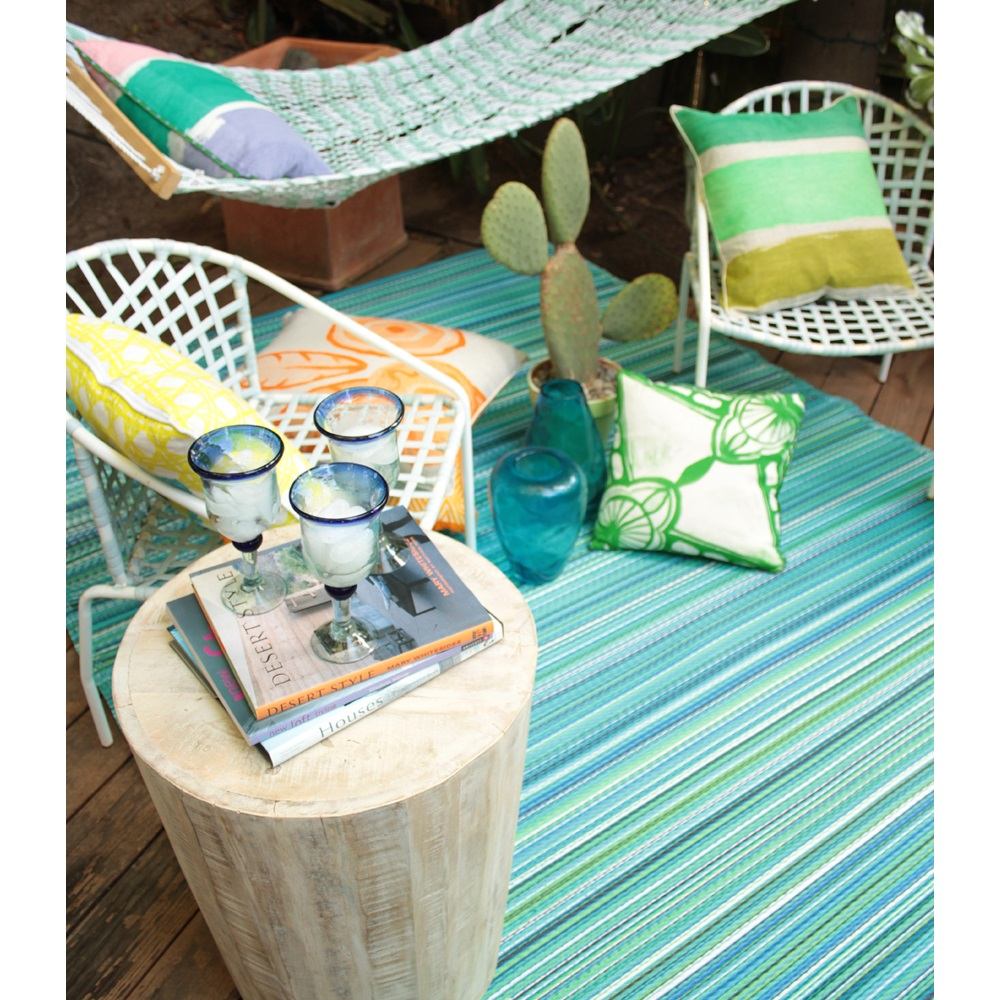 Cancun Outdoor Rug In Turquoise & Moss