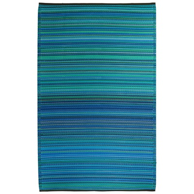 FAB HAB CANCUN OUTDOOR RUG in Blue Stripe