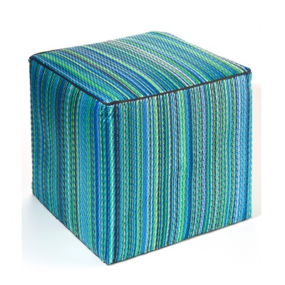 FAB HAB CANCUN OUTDOOR CUBE POUFFE in Turquoise & Moss Green