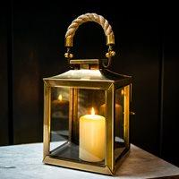 SMALL LA ROCHELLE Lantern In Antique Brass Finish