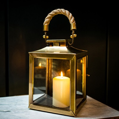 SMALL LA ROCHELLE Lantern In Antique Brass Finish