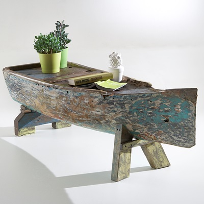 VINTAGE WOODEN BOAT COFFEE TABLE