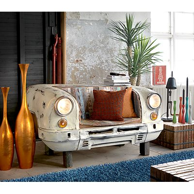 RECLAIMED TAXI BENCH & LOUNGE CHAIR