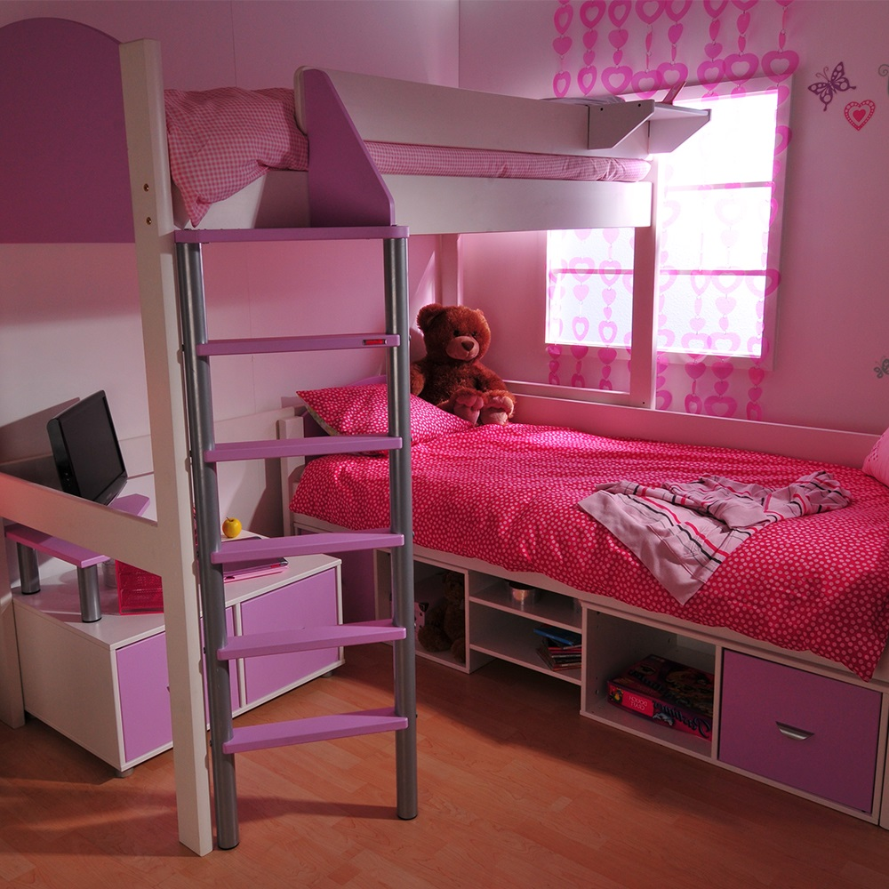 Stompa casa kids high sleeper bed in white kids avenue for High sleeper beds for small rooms