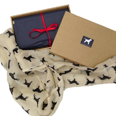 SPANIEL CASHMERE SCARF in Black Print by The Labrador Company
