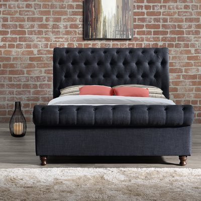 CASTELLO UPHOLSTERED BED in Charcoal by Birlea