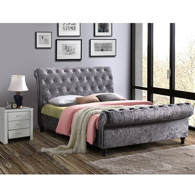 CASTELLO UPHOLSTERED BED in Steel by Birlea