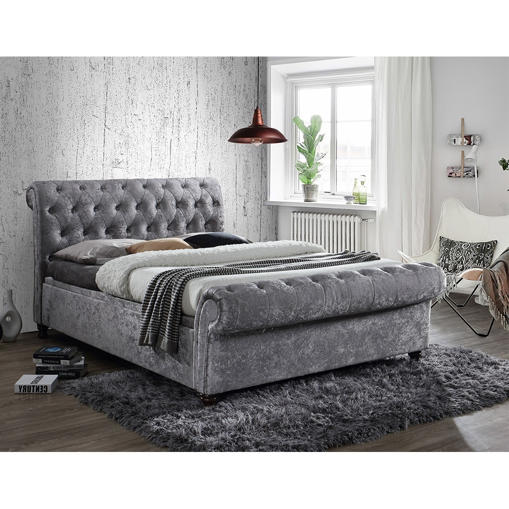 Ottoman Bedroom Castello Upholstered Side Ottoman Bed In Steel By Birlea Beds