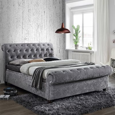 CASTELLO UPHOLSTERED SIDE OTTOMAN BED in Steel by Birlea