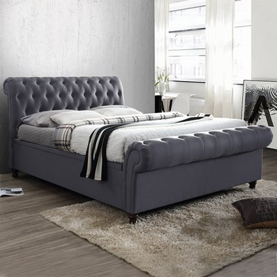 CASTELLO UPHOLSTERED SIDE OTTOMAN BED in Charcoal by Birlea