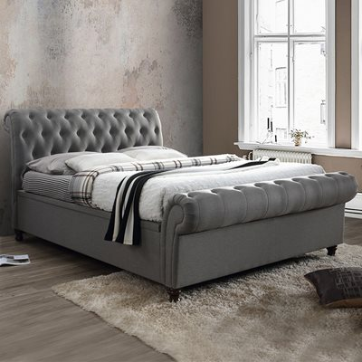 CASTELLO UPHOLSTERED SIDE OTTOMAN BED in Grey by Birlea