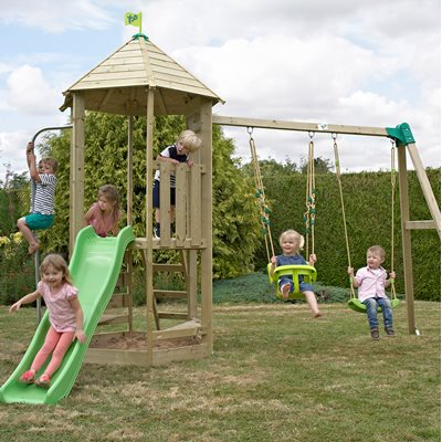 TP TOYS CHILDREN'S CASTLEWOOD TOWER with Swing Set and Wavy Slide