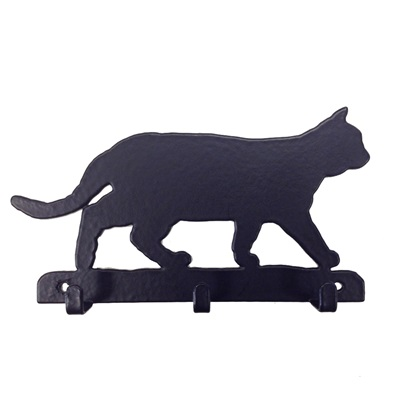 KEY RACK WITH 3 HOOKS in Prowling Cat Design