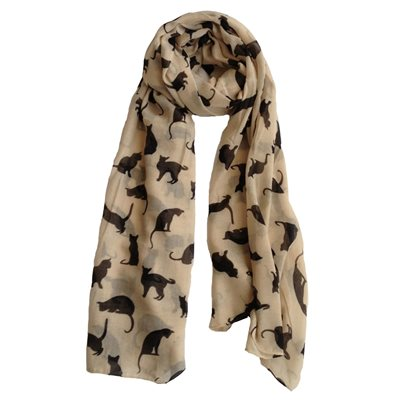 CAT PRINT SCARF BLACK & BEIGE By Scarlett Black
