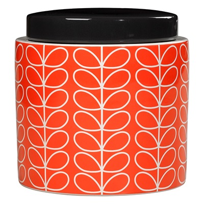 Orla Kiely Ceramic 1l Storage Jar in Linear Stem Persimmon Orange Print