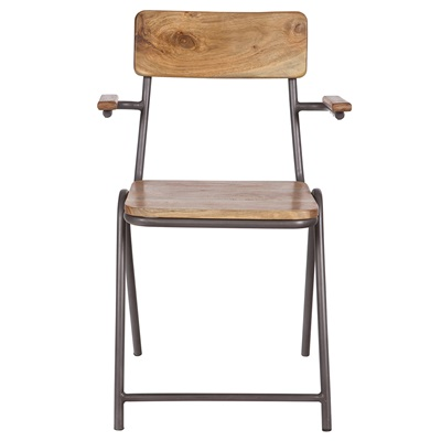 VINTAGE WOODEN CHAIR with Armrests in Anthracite