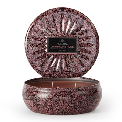 VOLUSPA CANDLE in Champagne Rose (3 Wick Tin)