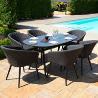 Product photograph showing Maze Rattan Ambition 6 Seat Oval Dining Set - Flanelle Grey