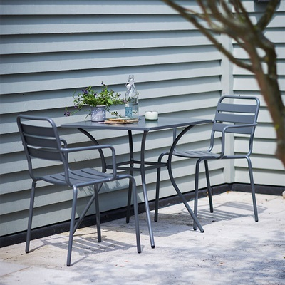 GARDEN TRADING 2 SEATER DEAN STREET DINING SET in Charcoal