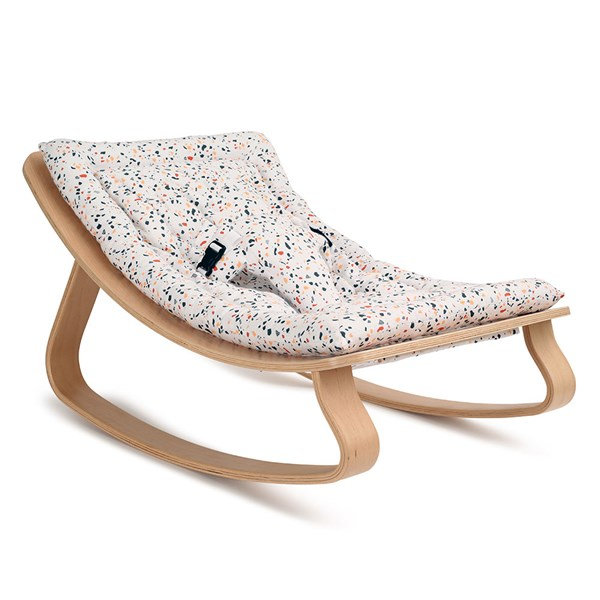 Levo Baby Rocker in Beech Wood with Terrazzo Cushion