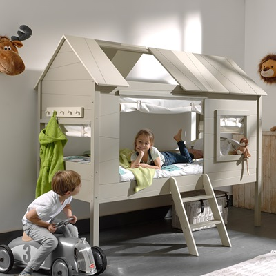 Charlotte Kids Treehouse Bed in Grey & Beige