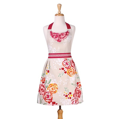 CHARLOTTE VINTAGE KITCHEN APRON In Floral Design