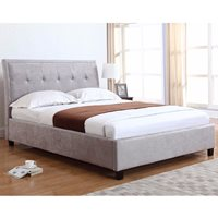 CHARLOTTE UPHOLSTERED OTTOMAN BED IN SILVER by Flair Furnishings  King