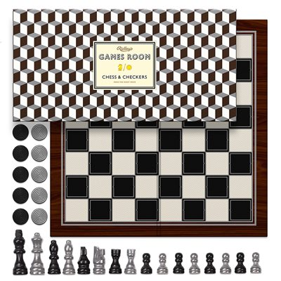 CHESS & CHECKERS METALLIC Board Game